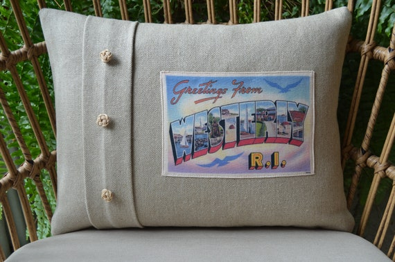 Westerly Rhode Island Postcard Pillow (available in 3 styles and 2 sizes)