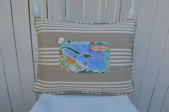 Caribbean Islands Postcard Pillow (available in 3 styles and 2 prices)