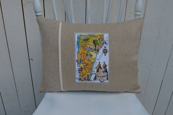 Vintage Vermont Map Pillow (available in 3 different styles and 2 different prices)