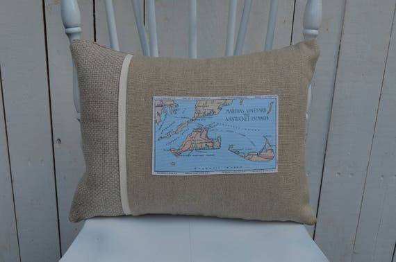 Martha's Vineyard and Nantucket Islands Postcard Pillow (available in 3 styles and 2 prices)