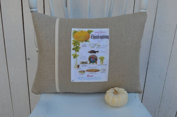 Thanksgiving Menu Pillow