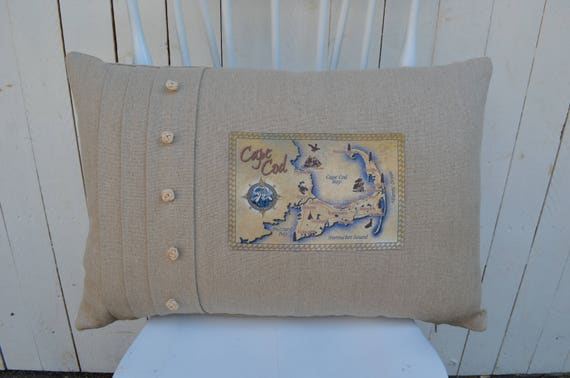 Cape Cod Tan Postcard Pillow  (available in 3 styles and 2 prices)