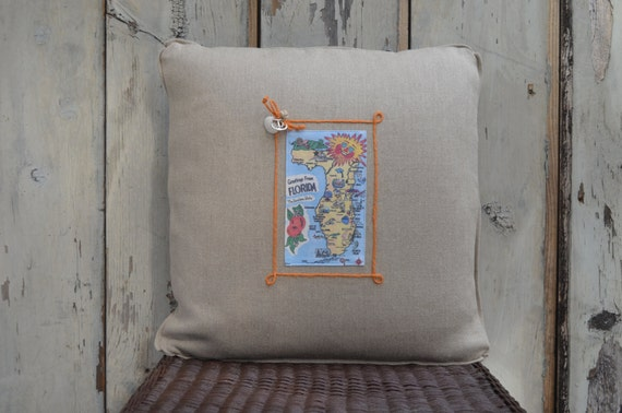 Florida Sun Postcard pillow