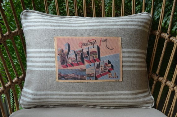 Watch Hill R.I. Postcard Pillow (available in 3 styles and 2 sizes)