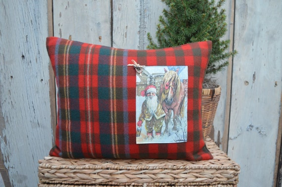 Christmas Pillow with Gnome and Horse
