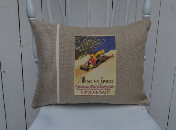 Vermont Winter Sport Pillow (available in 3 styles and 2 prices)