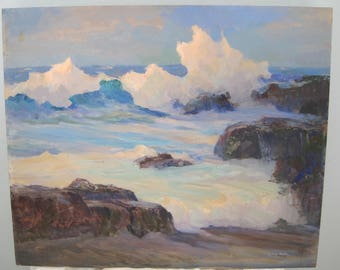Oil on Board Seascape Painting by Listed Artist Doris Rohr Signed Mid Century Carmel Point Carmel California 20x24