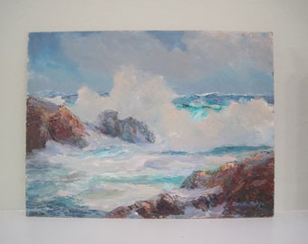 Original Oil Painting Carmel Point California Seascape Listed Early California Plein Air Artist 12x16