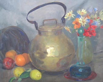 Original Oil on Board Still Life Painting Mid Century Classic Fruit Flowers Brass Pot Unsigned Early California Artist 20 x 24