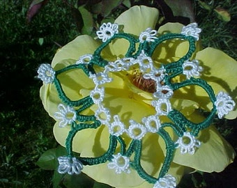 Tatted Christmas SnowFlake Green and White