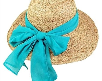 39eb87347be78 Personalized Natural Raffia with Teal Bow Sun Hat