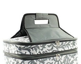 Personalized Insulated Gray Damask Casserole Carrier PERFECT GIFT