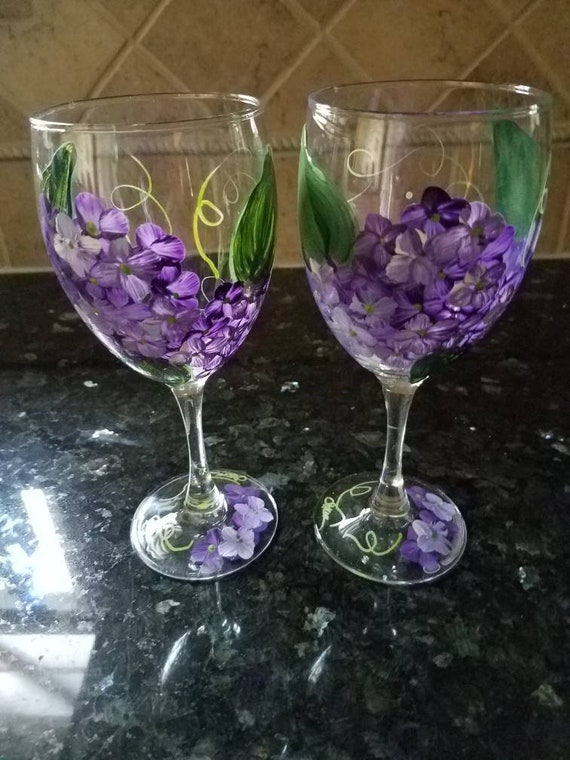 Hydrangea wine glasses