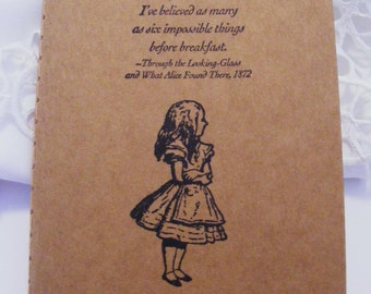 Alice in Wonderland Six Imposible Things Kraft Journal Cahier Journal Notebook Handmade Vintage Style Pocketbook Size Wedding Favor Gift