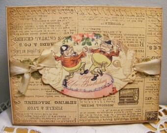 Happy Un Birthday Greeting Card Vintage Look  w/ Envelope and Seal Alice in Wonderland SerendipityCrafting DC29