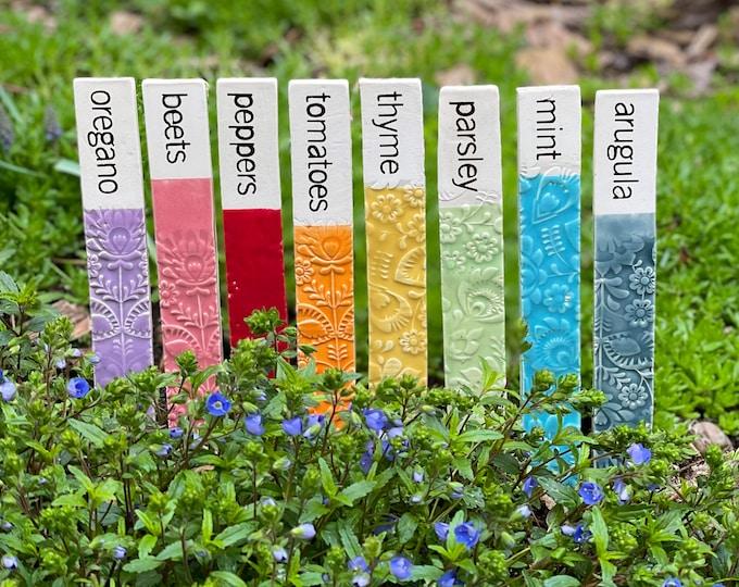 vegetable garden markers, plant markers, ceramic garden stakes, herb garden markers, garden decor stakes, garden signs, ceramic stakes
