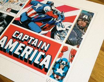 CAPTAIN AMERICA - Original ComicArt Collage  - Limited Edition