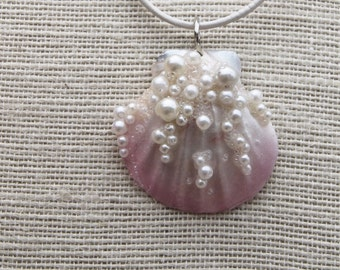 Mermaid Seashell and Pearl, airbrushed necklace.  OOAK