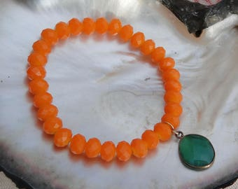 ORANGE CRYSTAL BOLLYWOOD Bracelet, boho, bollywood, green, tribal