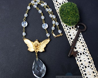 Golden Fairy Necklace - brass stamping, angel, art deco, upcycled, chandelier crystal, glass beads, fantasy, geeky, beautiful, salvaged