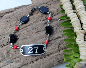 Locker Tag Bracelet - fun, quirky, repurposed, upcycled, black, red, glass beads, bamboo coral beads, beaded chain, 27, unique, handmade