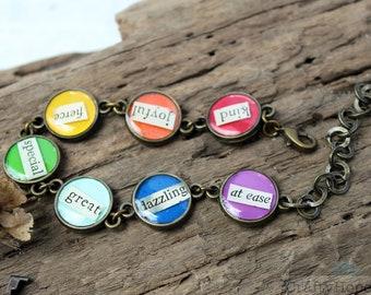 Rainbow Inspiration Bracelet - found book text, words of encouragement, resin, roygbiv, pride, colorful, adjustable size, vintaj patina