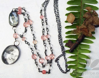 Two Faces Necklace - long boho jewelry, OOAK, upcycled yearbook photo, pink beaded, gunmetal, unique, mixed media, soldered, sweet, pretty