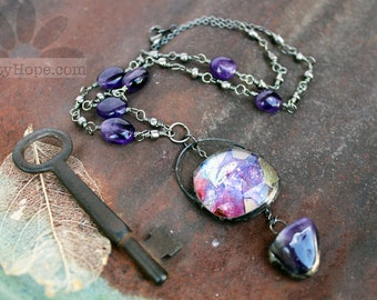 Amethyst Dangle Necklace - gelli print, alcohol ink, mixed media art jewelry, gunmetal, antiqued silver, beaded, soldered bubble