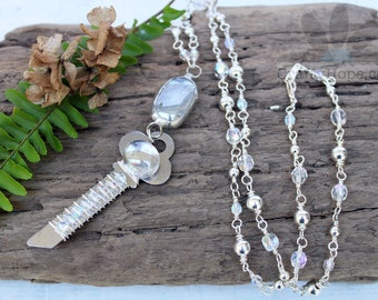 Crystal Bubbles Necklace - upcycled key, wire wrapped, silver, AB crystals, handmade chain, boho, pretty, soldered pebble, glass, assemblage