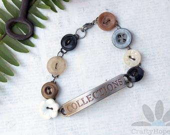 Button Collections Bracelet - vintage buttons, tim holtz word bar, vintaj patina, brass wire, mixed media jewelry, boho, cottagecore