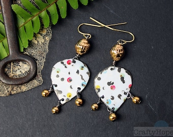 Confetti Tin Earrings - upcycled tin jewelry, colorful polka dots, dotted, golden bead dangles, mixed metal, repurposed, handmade jewelry