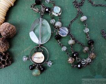 French Bubble Necklace - long, mixed media, soldered, labradorite, faceted glass, sparkle, dark metal, goth, beads, gunmetal, unique