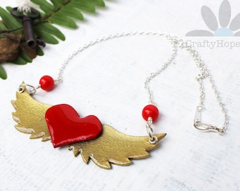 Winged Heart Necklace - red, gold, silver, painted, vintage glass beads, grungeboard, resin, handmade statement, tattoo inspired, wings