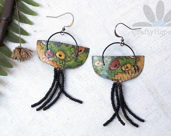Garden Tassels Earrings - upcycled cookie tin, glass seed beads, darkened steel wire, gunmetal, nickel free, distressed, flowers, unique