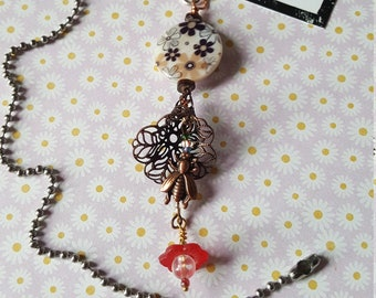Spring Flowers and Bronze BEE  - LIGHT or Fan pull OR Rear view mirror Charm