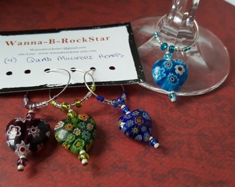 MOM Has you Heart - Millefiori Hearts - Quad Set - Wine Charms - Drink Tags