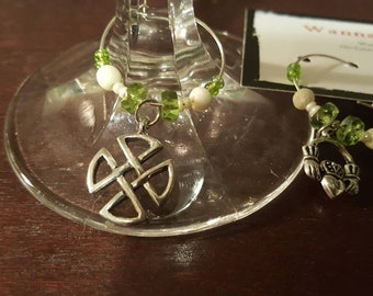 CELTIC Celebrations  - Silver, Cream and Isle Green - Wine or Drink Charms