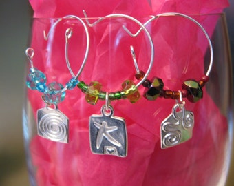 For Mom - Silver SWIRLS Stars and Squiggles - Special Price - Wine CHARMS - Drink Tag Set