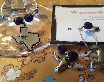 GIDDYUP Howdy Partner - Wyoming - Montana - Arizona - New Mexico - Oklahoma - Texas -- State Wine Charms or Drink Tags
