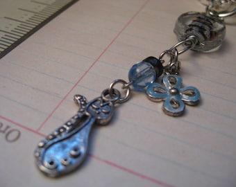Easter Goodie - REPURPOSED Blue Kitty  -  Zipper Pulls or Fan Pull