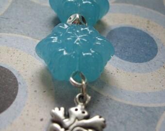 Magical Blue FROG  -- Zipper or Fan Pull