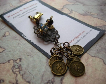 STEAMPUNK Series - Filigree and Coins with Crystal Bling - Zipper Pull or Ceiling Fan Pull or Rear View Mirror Bling