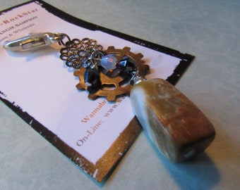 STEAMPUNK Series - Crystals and Caramel Colored Rectangle Quartz Bead - Zipper Pull
