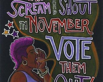 VOTE THEM OUT - A 9x12 Digital Print of a Kat Kissick Original Illustration