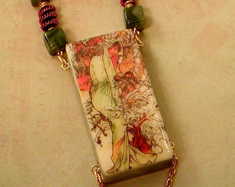 """Alphonse Mucha """"WINTER"""" // Altered DOMINO NECKLACE // Spiral Wire Beads // Jade Green Copper Gold Art Nouveau"""