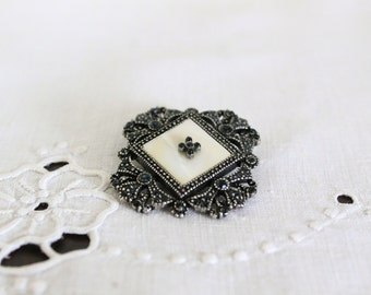 Silver Square Pearlescent Brooch