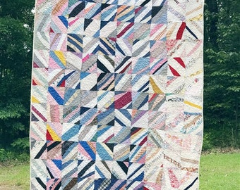 Scrappy String Quilt, Large Throw, made from an old quilt top, wonky and cool, READY TO SHIP, Rescue Quilt