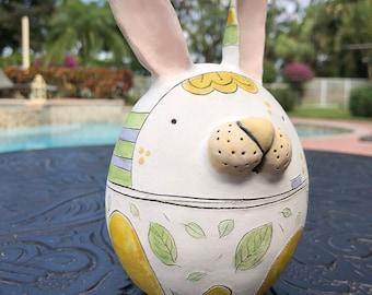 Ceramic Rabbit Figurine, Spring Rabbit Gift, Handmade Clay Bunny Miniature, Cute Pottery Animal Figurine, Artist Edrian Thomidis