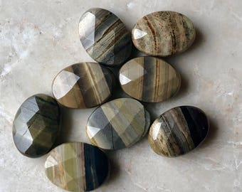 Faceted Silvermist Jasper beads