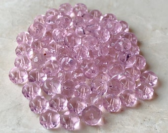 Pink Faceted Rondelle Beads, 4x6mm (80)